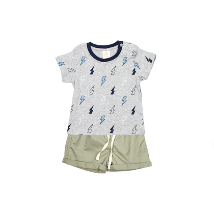 Printed T-Shirt with Khaki Shorts Suit