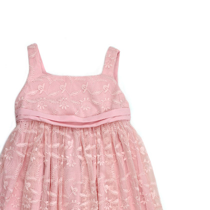 Pink Tulle Party Dress with Embroidery