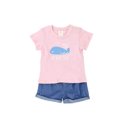 Printed T-shirt with Denim Shorts Suit