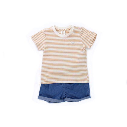Embroidered T-shirt with Denim Shorts Suit