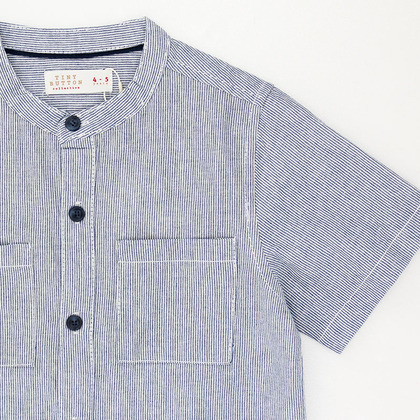Stand-up Collar Shirt with Canvas Patch