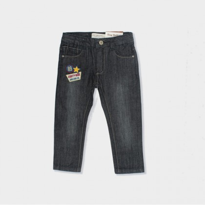 Slim-Fit Jeans with Embroidered Patch for Boy