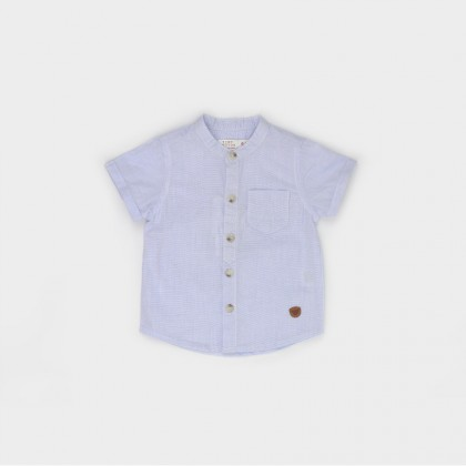 Stand-up Collar Shirt with Patch
