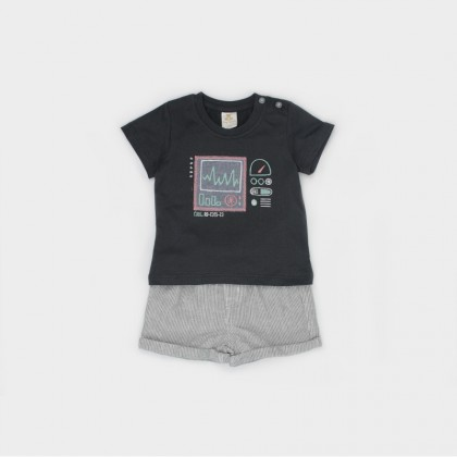 Embroidered T-shirt with Shorts Suit
